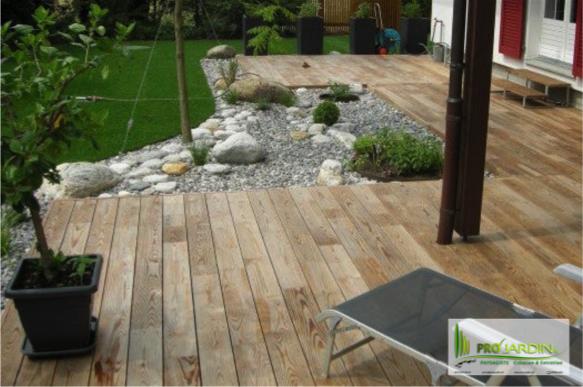 PROjardin Paysagiste creations & enretiensn Espace vert Jardins Valais terrasse bois
