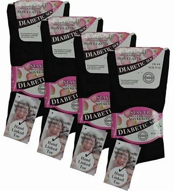 Ladies Stay Up Diabetic Socks - Black