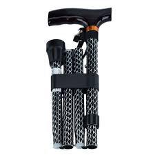 Adjustable, Folding Walking Stick - Black Wave