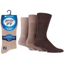 Mens Gentle Grip Socks - Brown