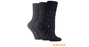 Ladies Gentle Grip Socks - Black/Grey Spots