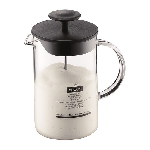 Bodum Latteo Milk Frother with Glass Handle Black 250ml | Dairy Beanz Coffee Roasters | New Zealand