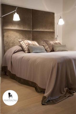 Tête de lit, dessus de lit, coussins