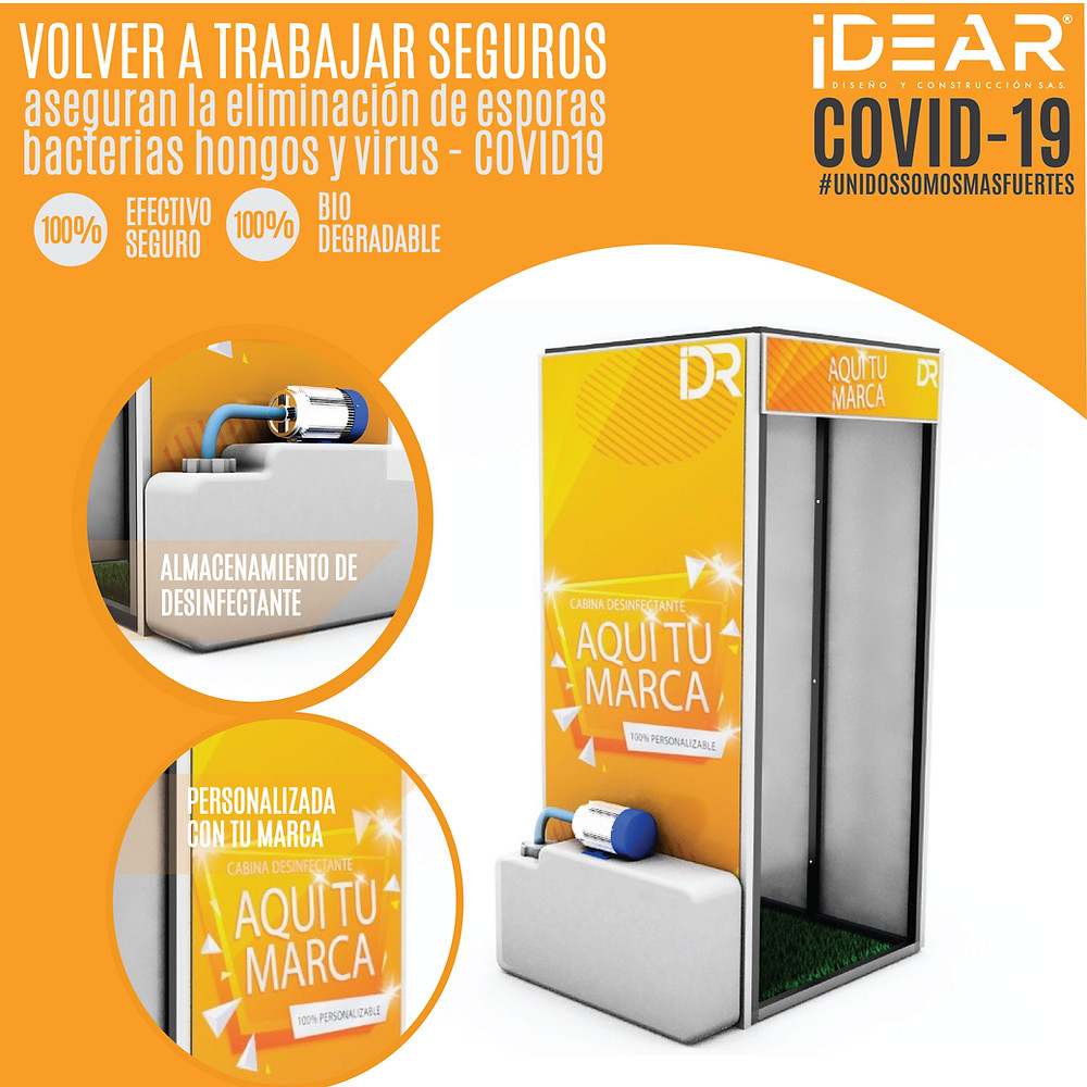 Cabinas de Desinfeccion en Medellón completamente personalizadas con el logo de TU EMPRESA, son hermosas y 100%funcionales. Pregunta por su descuento