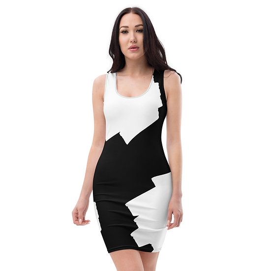 Paint Splatter Black and White Sublimation Cut & Sew Dress