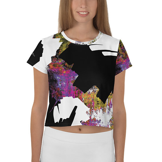 Colorful Abstract Art All-Over Print Crop Tee