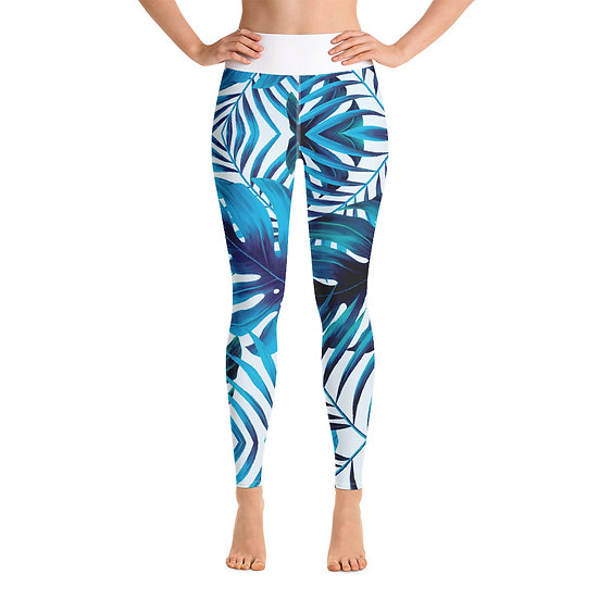 Blue Tropical Yoga Leggings
