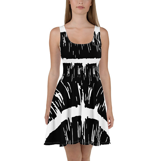 Abstract Black and White Brushstroke Print Skater Dress