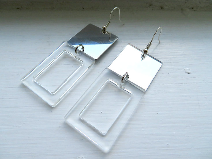 Clear Resin and Mirror Square Earrings