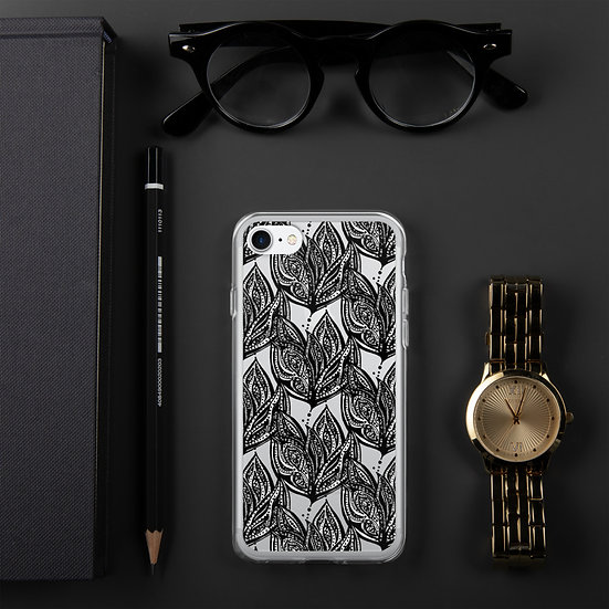 Black and White Art Deco Flower iPhone Case