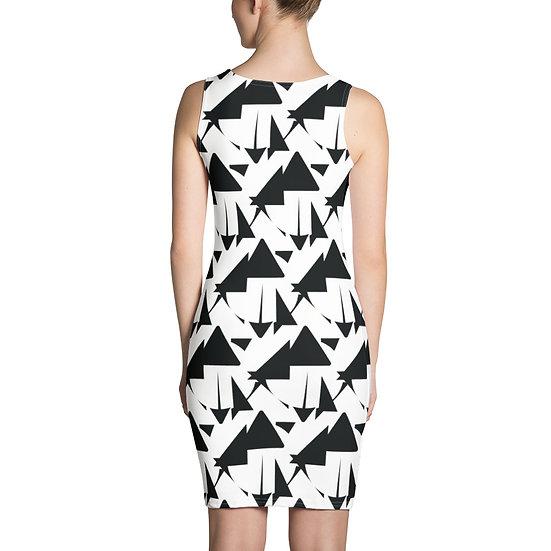 Black and White Geometric Sublimation Cut & Sew Dress