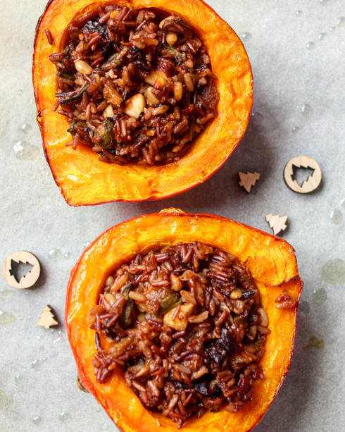 Vegan Stuffed Pumpkin for Christmas
