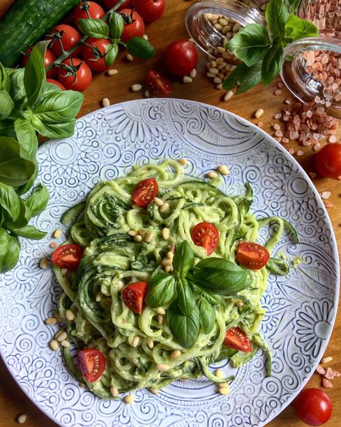 Fully Raw Cucumber Spaghetti