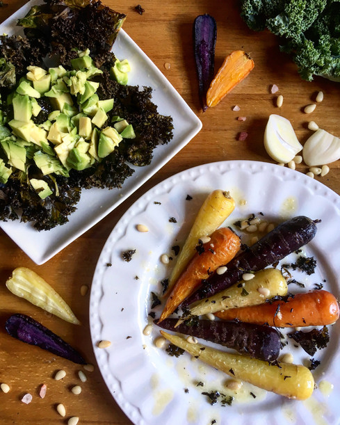 Honey Roasted Carrots with Kale Chips