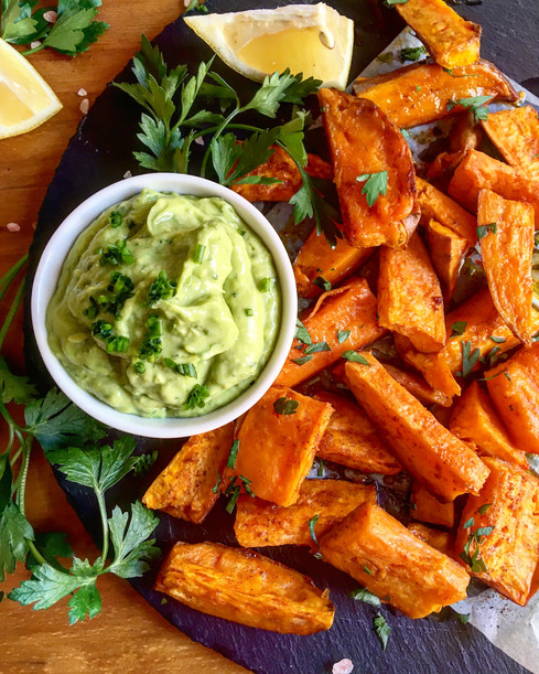 Roasted Sweet Potatoes with Guacamole