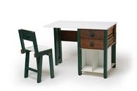 Escrivaninha de Veneziana 100 x 60 x 75 cm Cadeira de Janela de Veneziana 35 x 35 x 80 cm