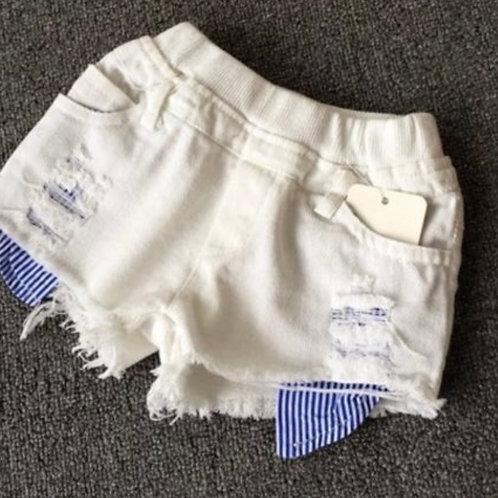 White Distressed Denim Short