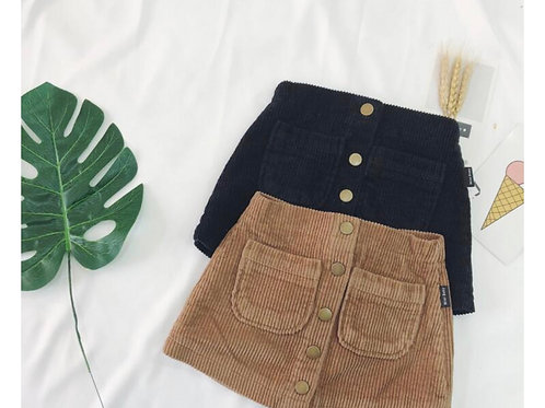 Corduroy Buttons Skirt