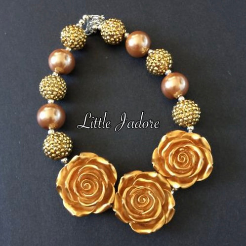 3 Gold Rose Necklace