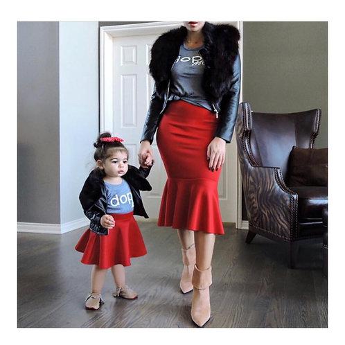 Mommy & Me Red Mermaid Skirt
