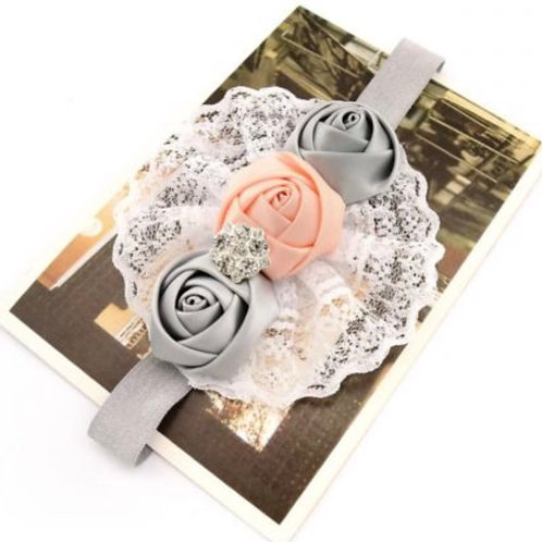 Satin Rose Lace Headband Set
