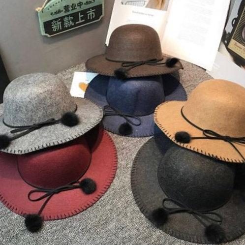 Pompom Wide Brim Hat