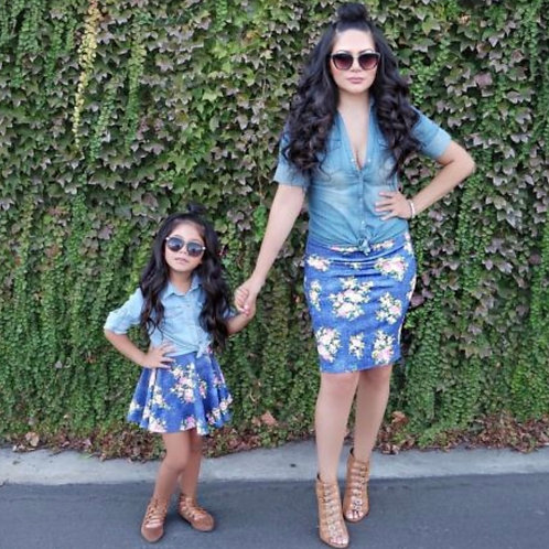 Mommy and Me Floral Denim Skirt