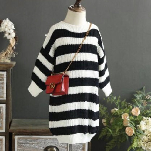 Distressed Stripes Knit Sweater Dress