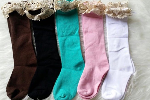 Solid Lace Knee High Socks