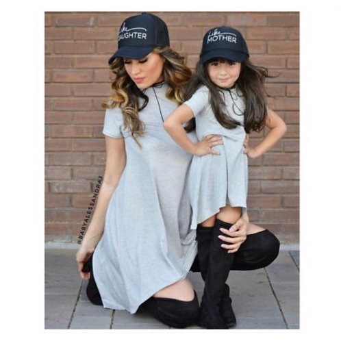 Mommy and Me High Low Grey Dress