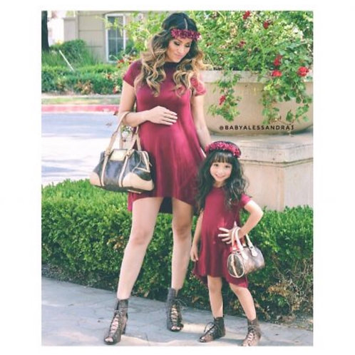 Mommy and me High Low Burgundy Dress