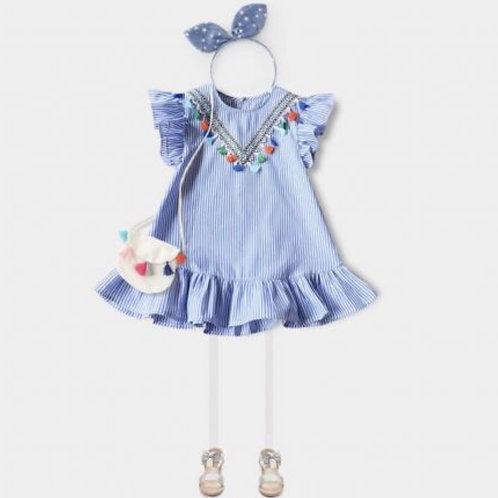 Blue Stripes Tassel Dress