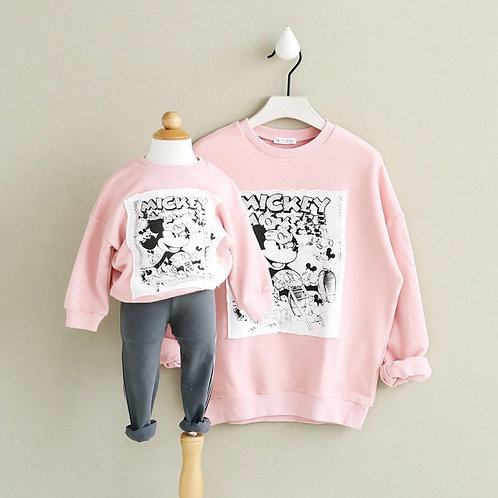 Mommy&Me Pink Mouse Sweatshirt