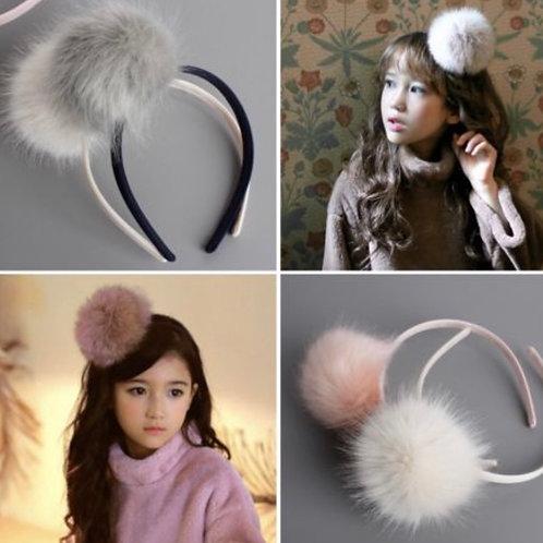 Fur Pompom Headband