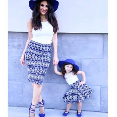 Mommy and Me Navy Aztec Skirt