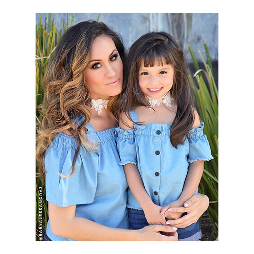 Mommy & Me Off Shoulder Denim Top