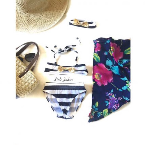 Stripe Gold Bow Swimsuit