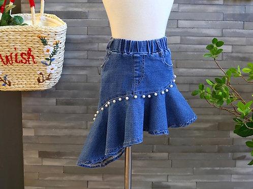Pearls Denim Skirt