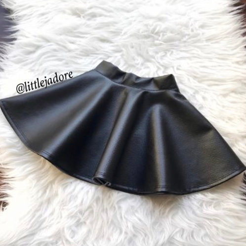 Faux Leather Skater Skirt