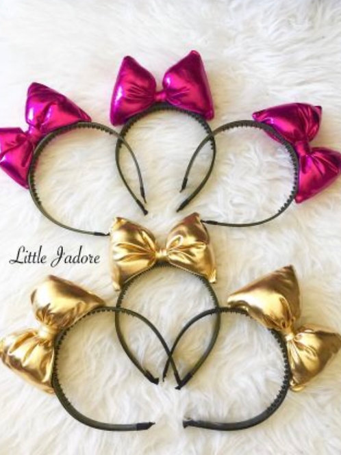 Metallic Pillow Bow Headand