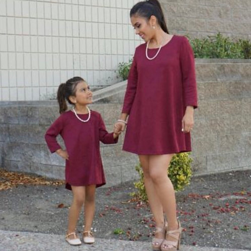 Mommy and Me 3D Floral Burgundy  Dress