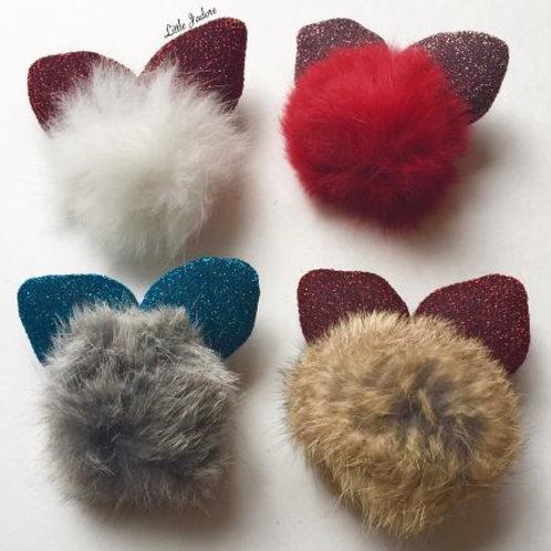 Bunny Fur Hair Bow