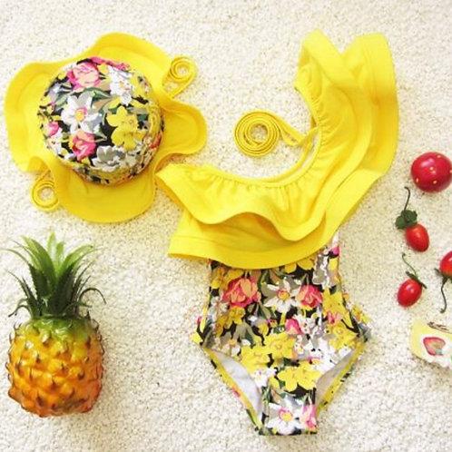 Yellow Ruffle Swimsuit