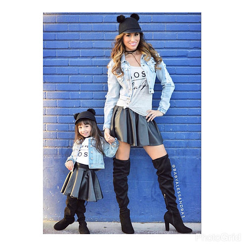 Mommy & Me Faux Leather Skater Skirt