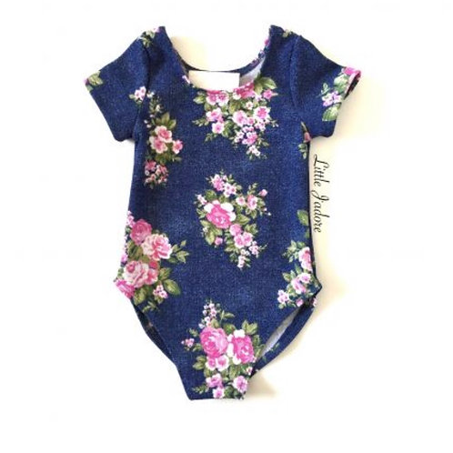 Pink Floral Denim Leotard