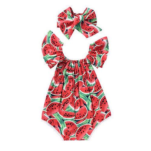 Off Shoulder Watermelon Romper