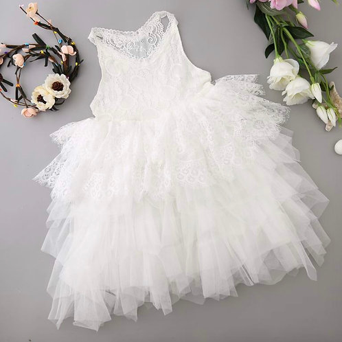 Lace Tiered Tulle Dress