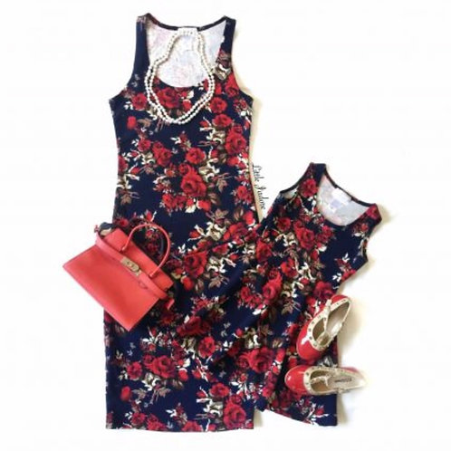 Mommy and Me Navy Floral Dress