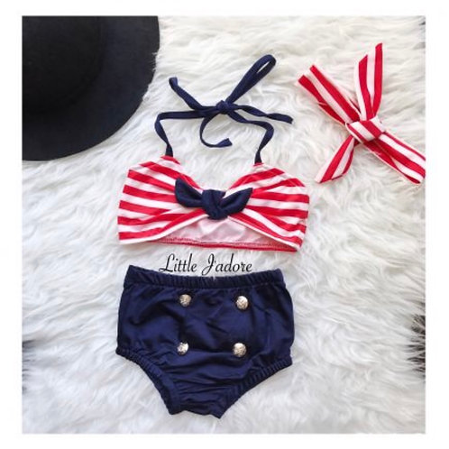 Striped Navy Swimsuit