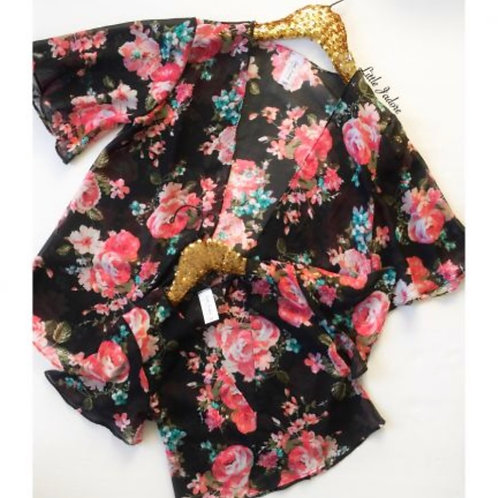 Mommy and Me Black Floral Kimono